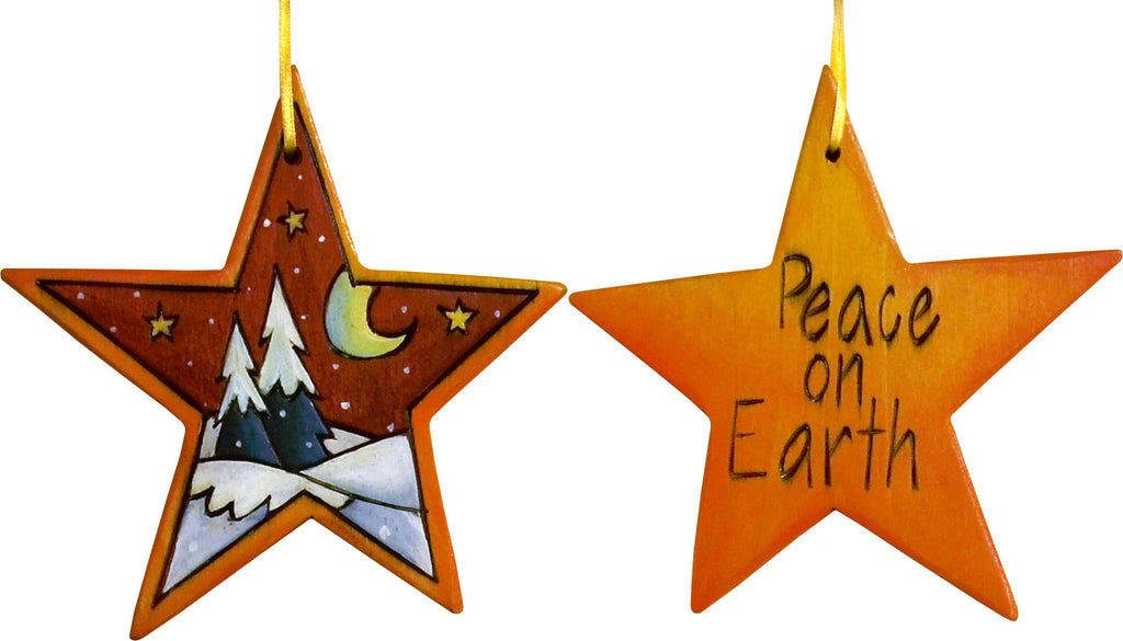 "Star Ornament –  ""Peace on Earth"" star ornament with snow-covered pine trees and moon motif"