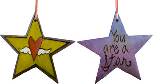 "Star Ornament –  ""You are a Star"" star ornament with heart with wings motif"