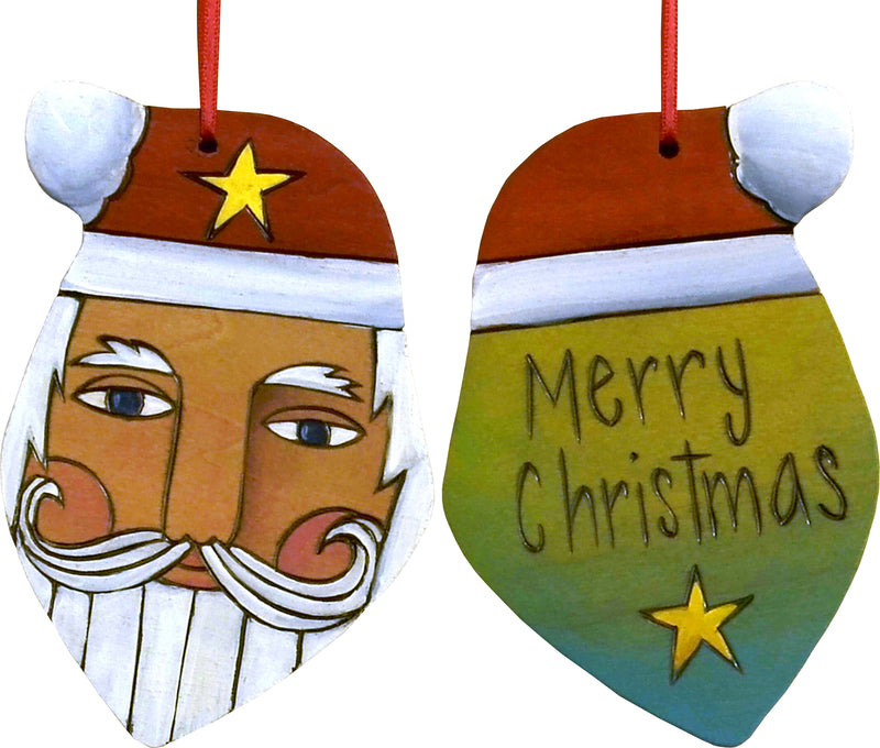 "Santa Ornament –  Festive Santa ornament with yellow, green and blue back, ""Merry Christmas"""