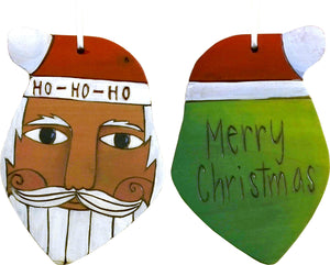 "Santa Ornament –  Festive Santa ornament, ""Merry Christmas"" with green back"