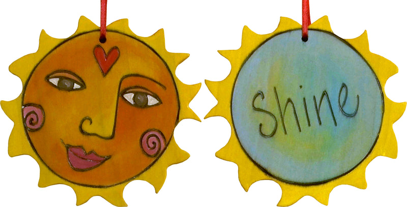 "Sun Ornament –  Darling ""Shine"" ornament with smiling sunshine"
