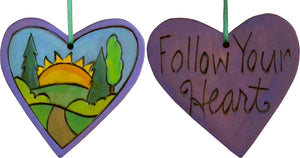 "Heart Ornament –  ""Follow Your Heart"" heart ornament with sunset on the horizon motif"