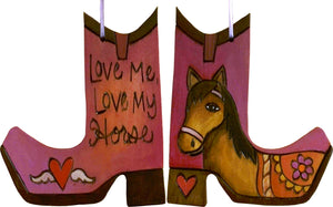 Boot Ornament –  Love Me, Love My Horse boot ornament with red themed horse motif