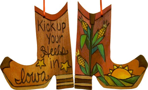 Boot Ornament –  Kick up your Heels in Iowa boot ornament with corn and sun motif