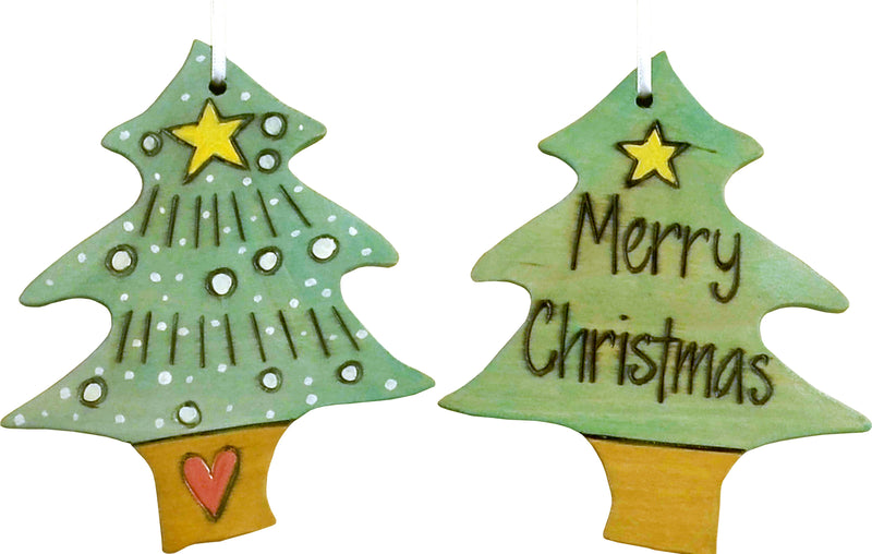 "Christmas Tree Ornament –  ""Merry Christmas"" Christmas tree ornament with lime green Christmas tree motif"