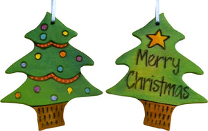 "Christmas Tree Ornament –  ""Merry Christmas"" Christmas tree ornament with light green Christmas tree motif"