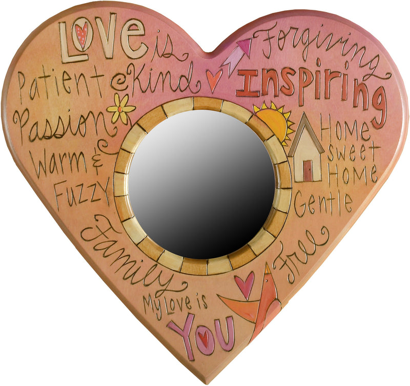"Heart Shaped Mirror –  ""My Love is You"" heart-shaped mirror with home and sun motif"