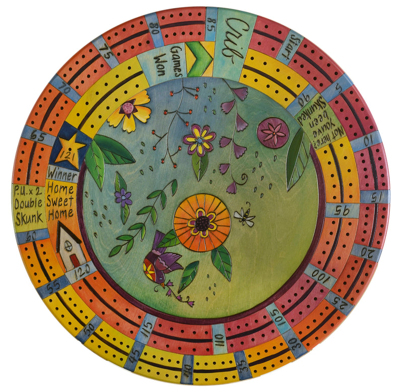 "20"" Cribbage Lazy Susan –  This cheery cribbage lazy susan is reminiscent of Spring and new beginnings"