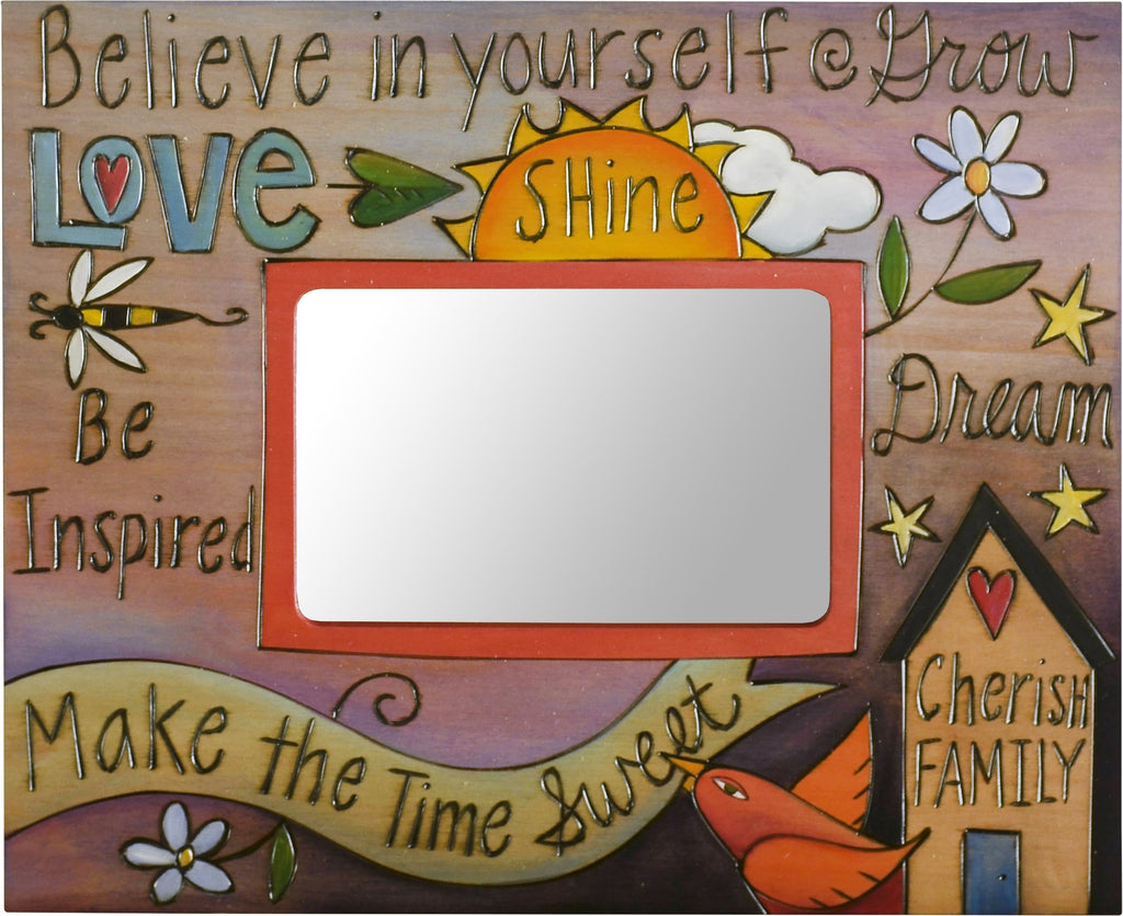 Sticks handmade picture frame with inspirational words and imagery