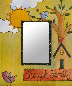 "Sticks handmade picture frame with ""Cherish Family"" theme"