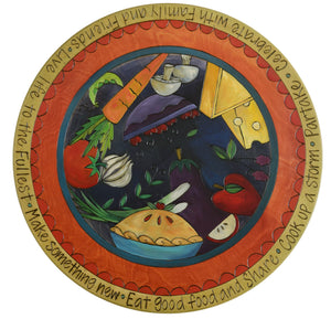 "Sticks Handmade 20""D lazy susan with food themes in rich hues"