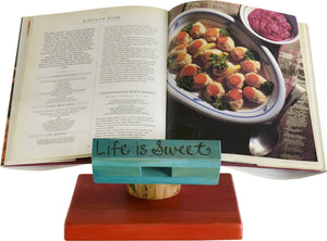 Cookbook and Tablet Stand –  Life is Sweet cookbook and tablet stand with flower and vine motif