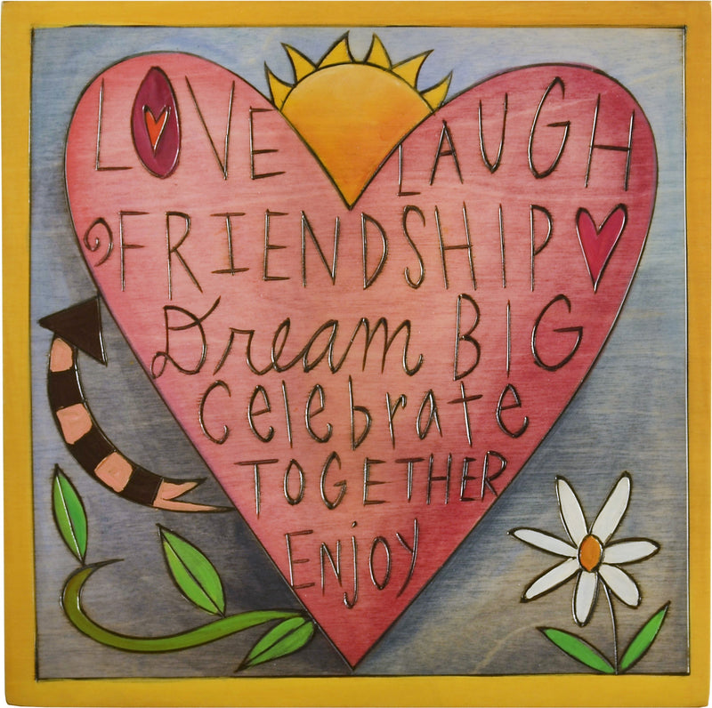 "Sticks handmade wall plaque with ""Love, Laugh, Friendship, Dream Big, Celebrate together, Enjoy"" quote and spring heart design"