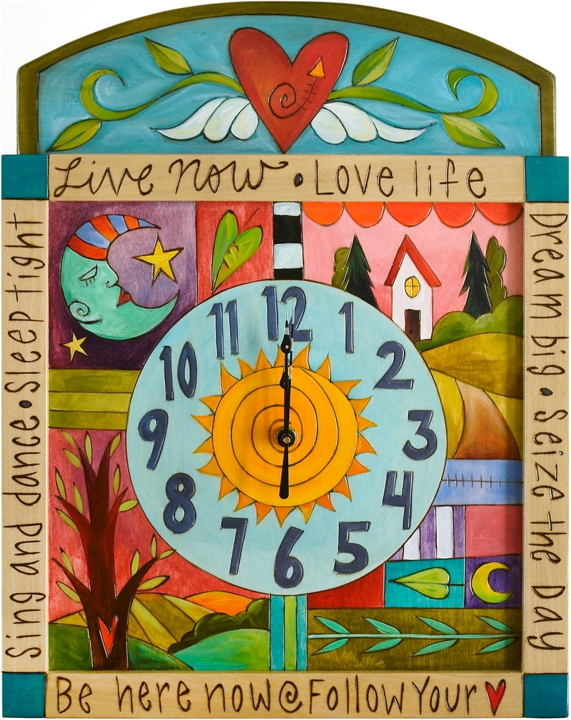 Square Wall Clock –  Colorful wall clock with symbolic elements and inspiring phrases