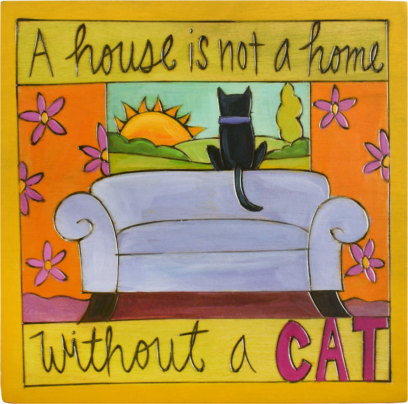 "Sticks handmade wall plaque with ""A house is not a home without a cat"" quote and imagery"