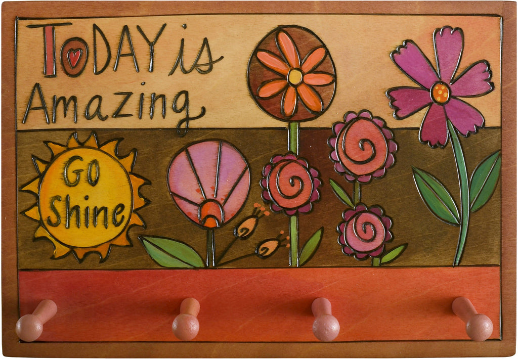 "Horizontal Key Ring Plaque –  ""Today is Amazing, Go Shine,"" key ring plaque with floral motifs and a sun"