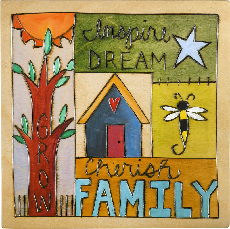 "Sticks handmade wall plaque with ""Inspire, Dream, Grow, Cherish Family"" quote and imagery"