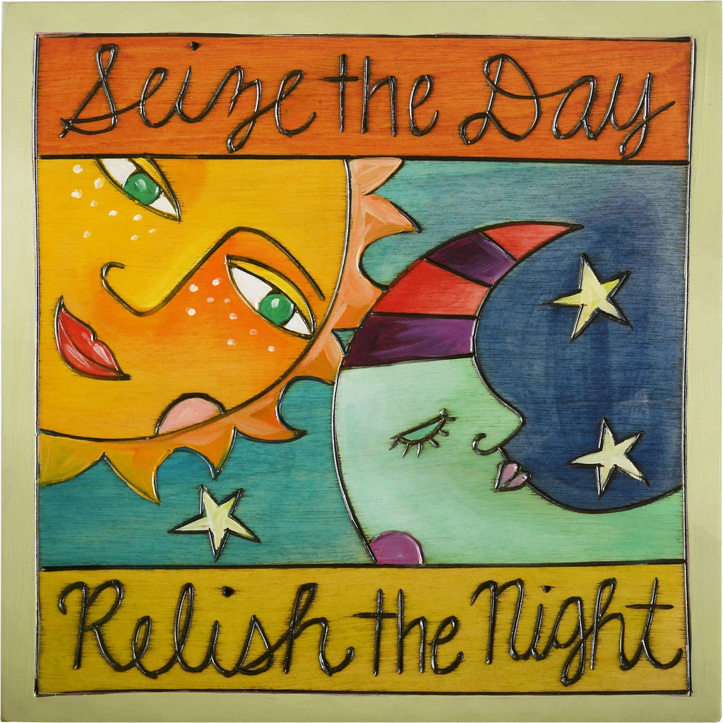 "Sticks handmade wall plaque with ""Seize the Day, Relish the Night"" quote and Sun and Moon imagery"