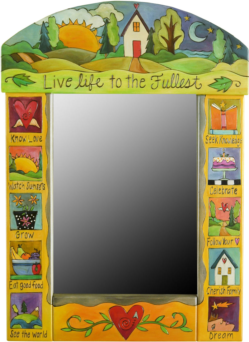 "Medium Mirror –  ""Live Life to the Fullest"" mirror with sunset over rolling hills with cozy home motif"