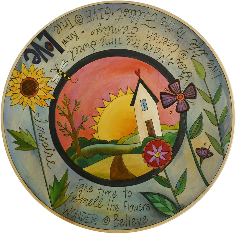 "Sticks Handmade 24""D lazy susan with inspiring words, flowers and a heart home on the horizon"