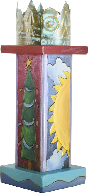 Small Pillar Candle Holder –  Elegant candle holder with holiday motifs