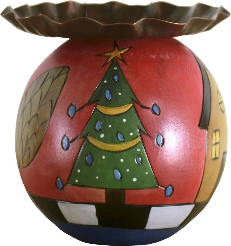 Ball Candle Holder –  Ball Candle Holder with Christmas tree and present motif
