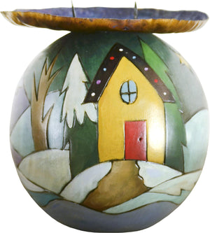 Ball Candle Holder –  Ball Candle Holder with cozy home nestled in the snowy mountains motif