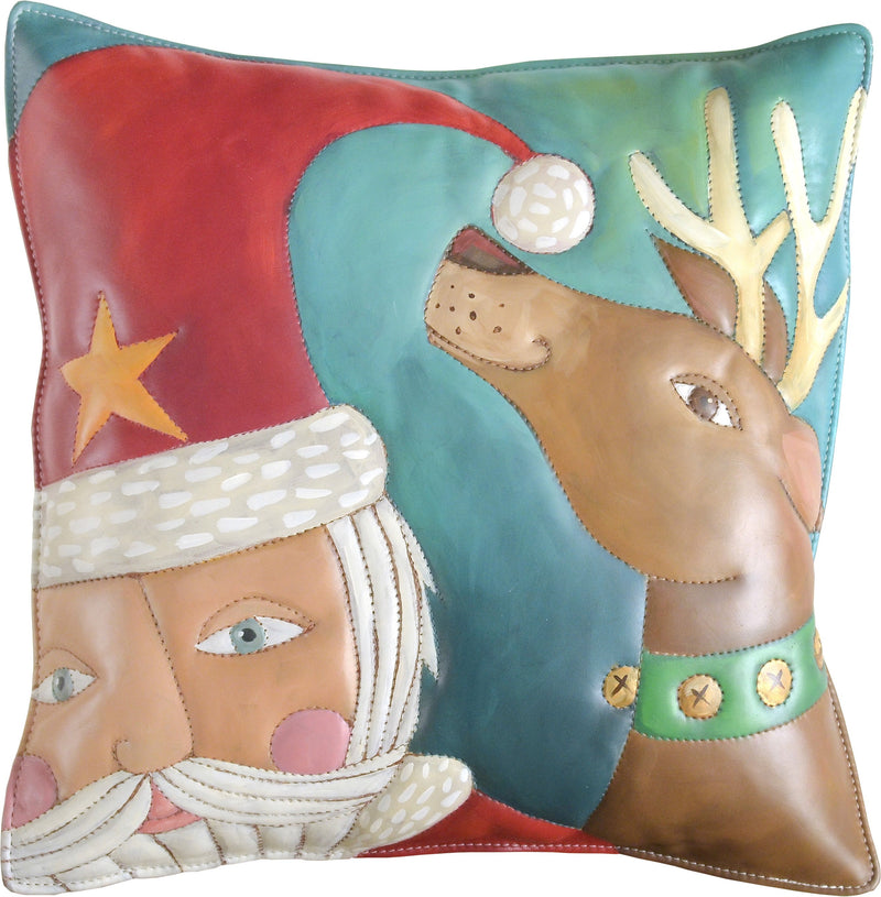 Leather Pillow –  Cheerful Santa and reindeer pillow painted in jolly hues