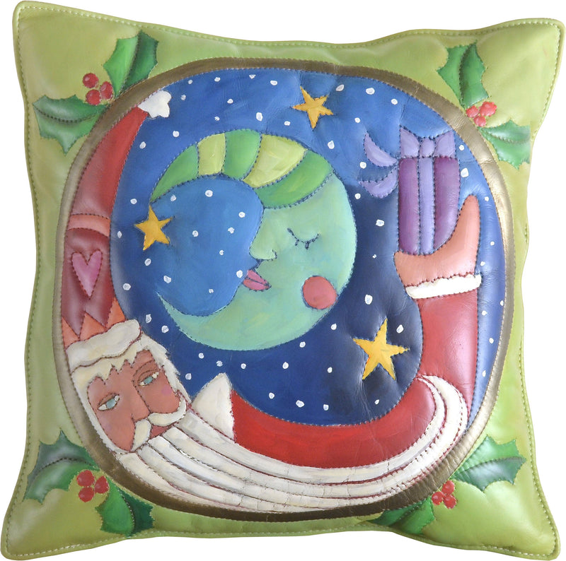 Leather Pillow –  Playful folk art pillow with Santa on Christmas eve night