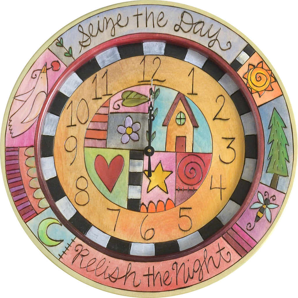 "14"" Round Wall Clock –  Crazy quilt design with playful icons and ""Seize the Day"" and ""Relish the Night"" phrases"