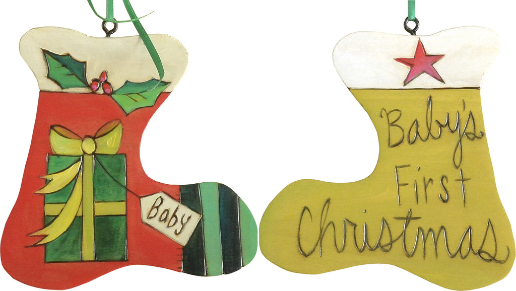"Stocking Ornament –  ""Baby's First Christmas"" stocking ornament with mistletoe and present motif"
