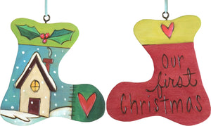 "Stocking Ornament –  ""Our First Christmas"" stocking ornament with cozy cottage under the snowfall motif"