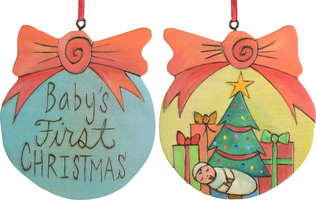 Ball Ornament –  Baby's First Christmas ball ornament with baby and christmas presents motif