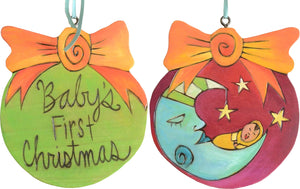 Ball Ornament –  Baby's First Christmas ball ornament with moon and baby motif