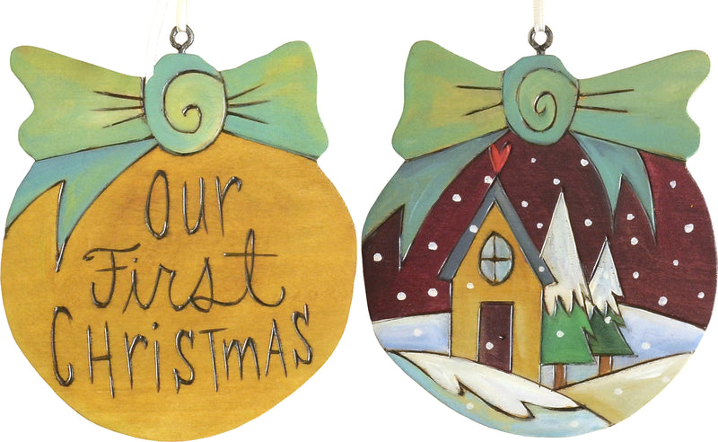 Ball Ornament –  Our First Christmas ball ornament with snowy house and christmas trees motif