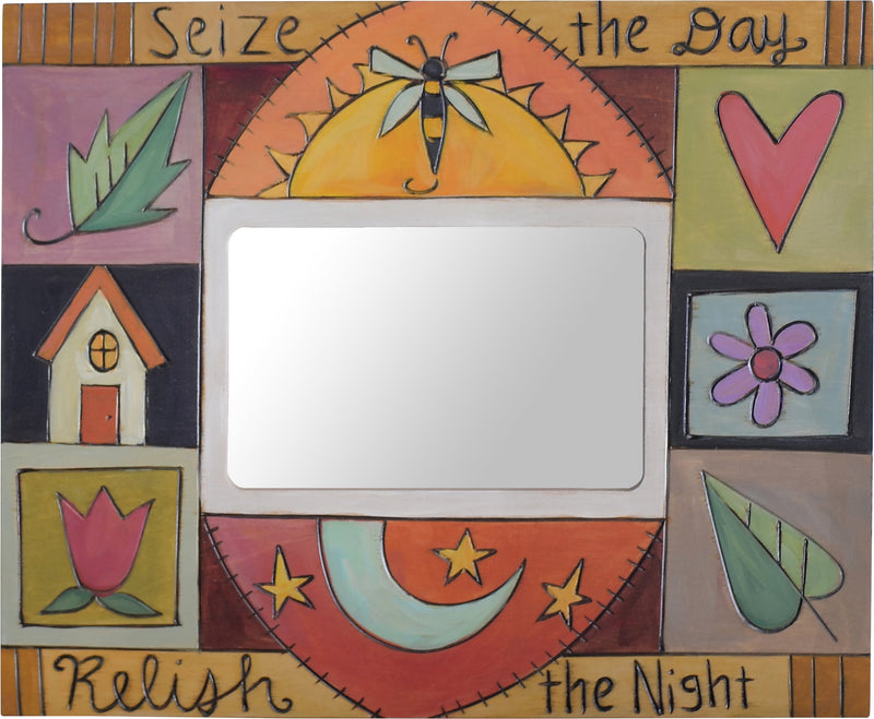 Sticks handmade picture frame with colorful block icons