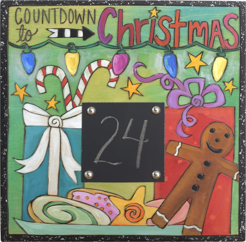 Sticks handmade Christmas countdown wall plaque