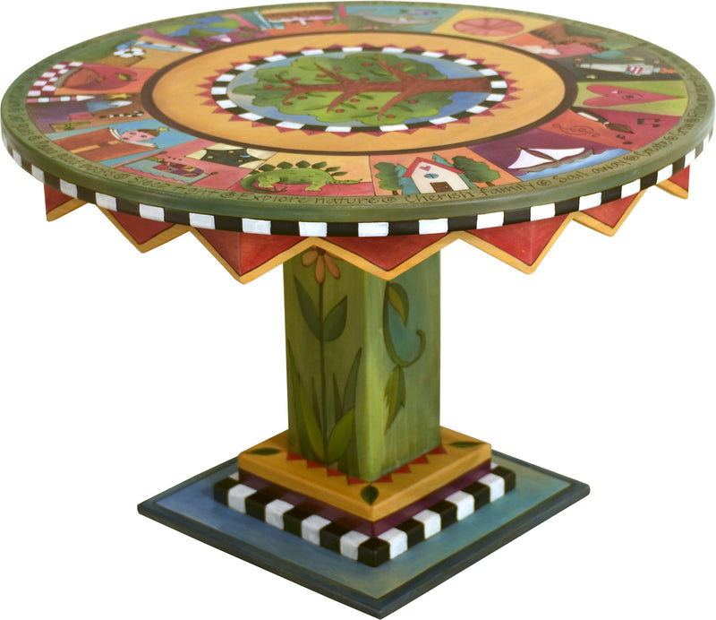 Kid's Table –  Lively and vibrant kids table with tree of life at the center and surrounding colorful block icons