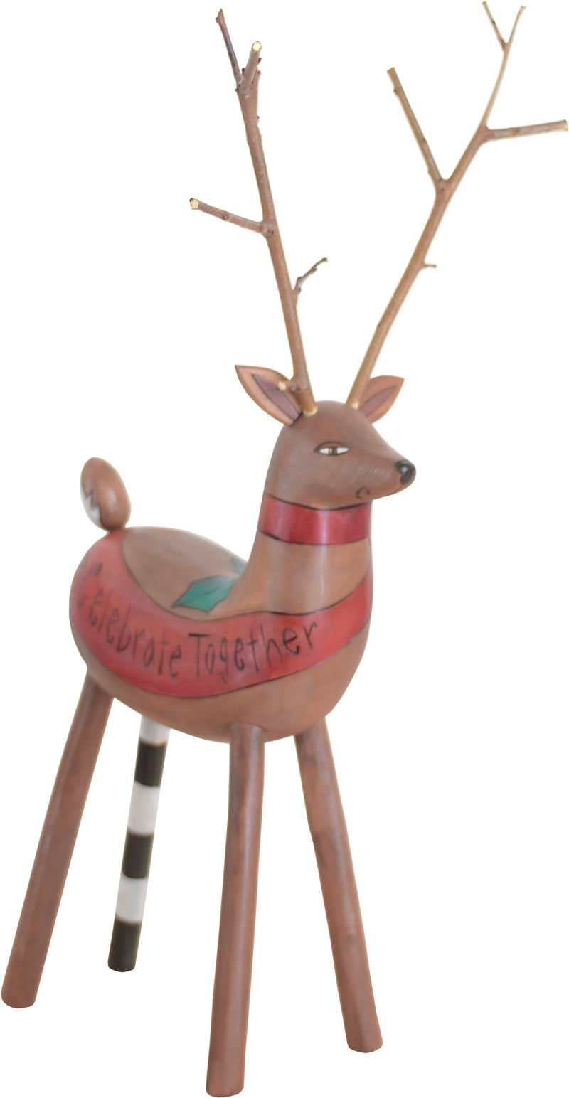 """Celebrate together"" family themed festive reindeer, front view"