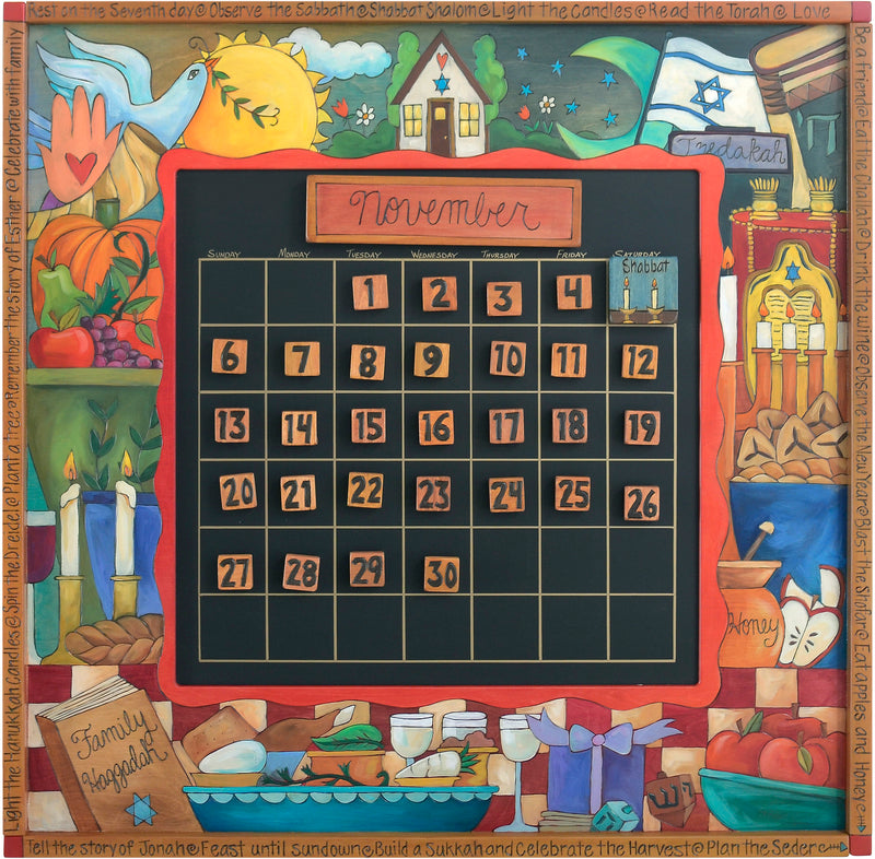 Large Perpetual Calendar –  Lovely Judaica themed perpetual calendar with colorful imagery