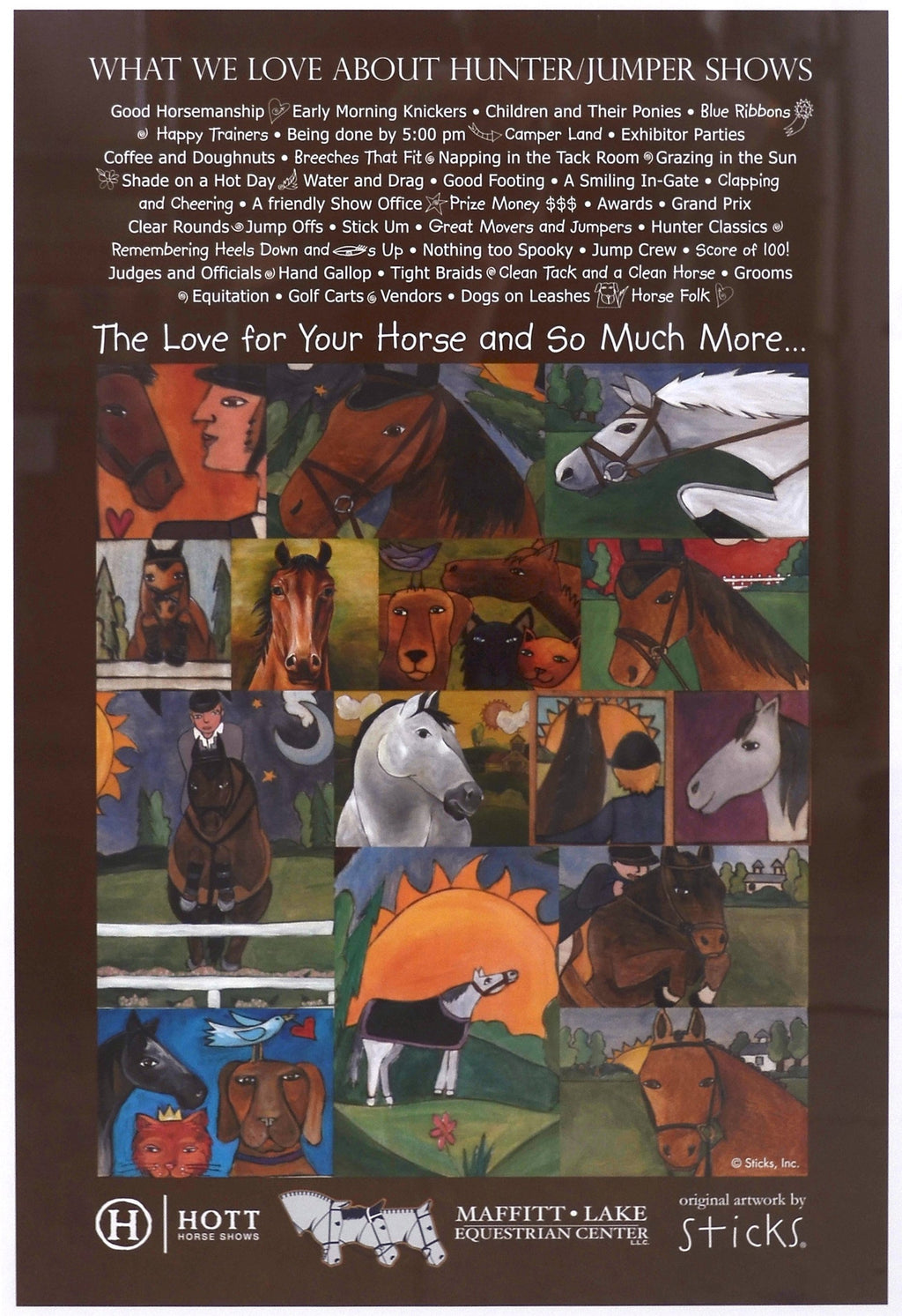 "WWLA Hunter Jumper Shows Poster –  ""What We Love About Huner Jumper Shows"" poster with beautiful horse collage motif"