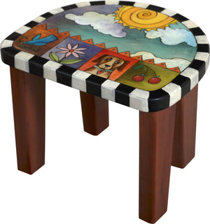 Short Stool Set –  Stool set with sun and clouds/moon and stars motif