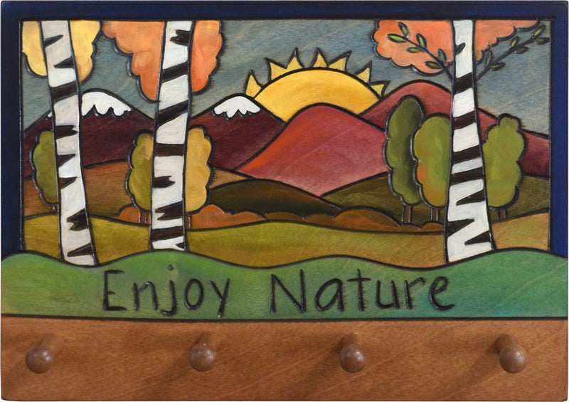 "Horizontal Key Ring Plaque –  ""Enjoy Nature,"" key ring plaque with birch trees and a mountain sunrise landscape"