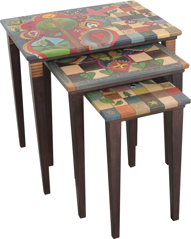 Sticks handmade nesting table set with colorful block imagery