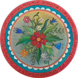 floral lazy susan with red border