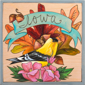 "10""x10"" Plaque –  Classic ""Iowa"" state bird and flower motif"
