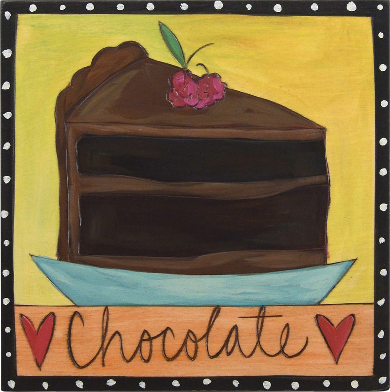 "Sticks handmade wall plaque with ""Chocolate"" quote and a decadent looking piece of chocolate cake and hearts"