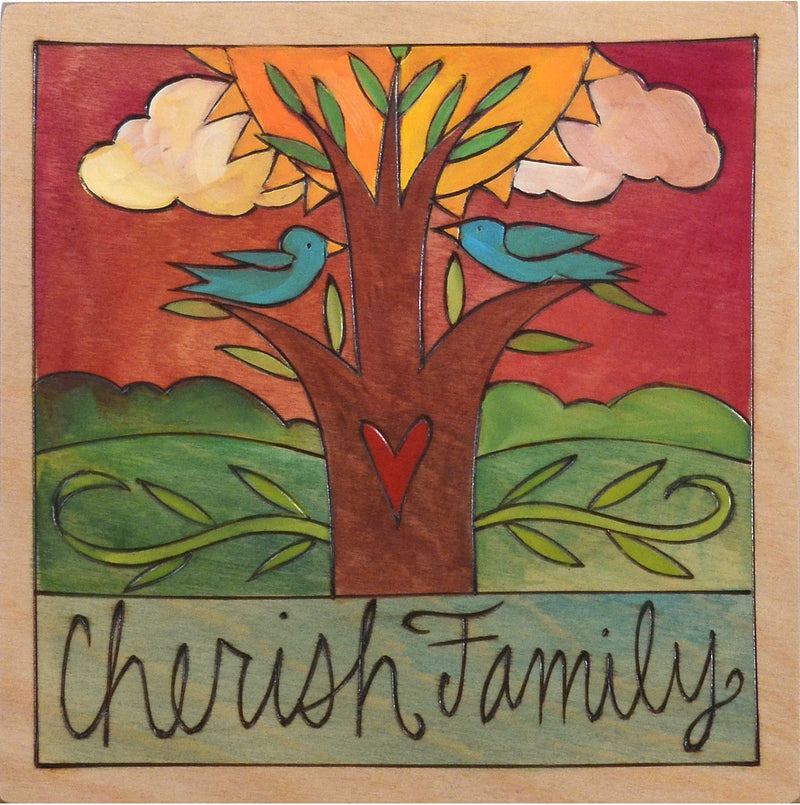 "Sticks handmade wall plaque with ""Cherish Family"" quote and tree of life imagery"