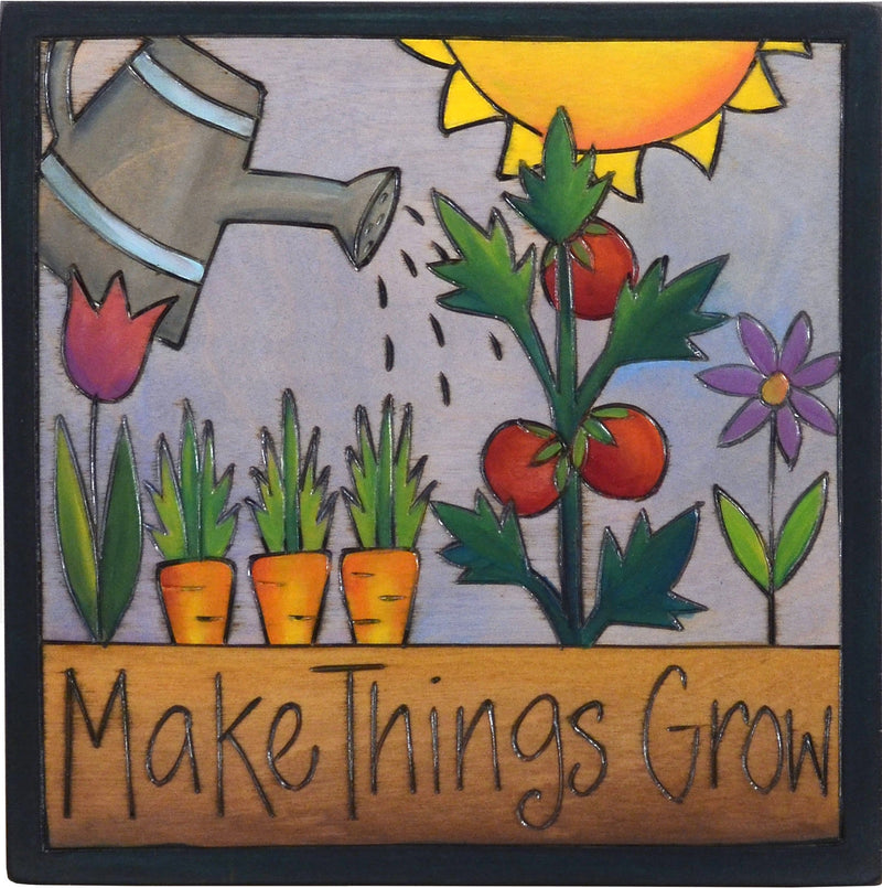 "Sticks handmade wall plaque with ""Make Things Grow"" quote and blooming flower and vegetable garden"