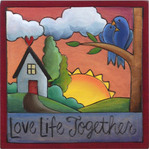 "Sticks handmade wall plaque with ""Love Life Together"" quote and cute love birds heart home landscape"